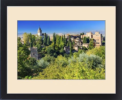 Framed Print of Alhambra Castle Tower Walls Cityscape Church Granada Andalusia Spain by Fine Art Storehouse