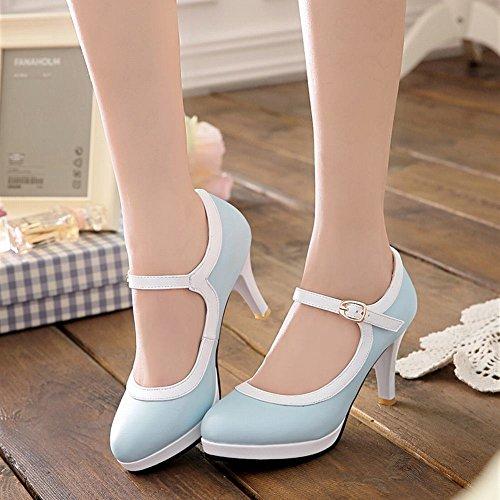 Carolbar Women's Assorted Color Lovely Stiletto High Heel Platform Court Shoes Blue xgCqywV