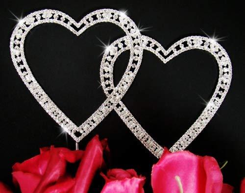 (Vintage Swarovski Crystal Double Heart Wedding Cake Topper)
