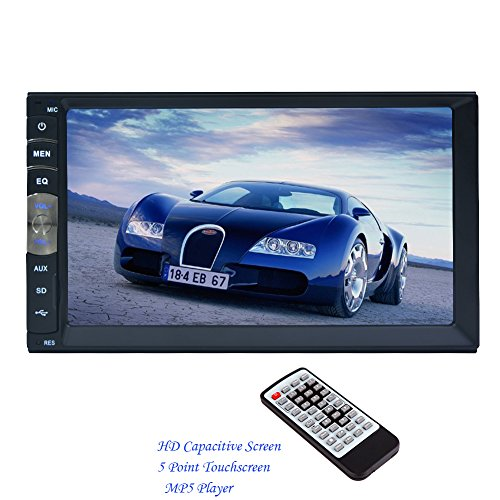 2 DIN 7 Inch HD Capacitive Multi-Touch LCD Screen Car Radio Stereo MP5 Player Support Bluetooth Hands Free 1080P Movie Player GPS Mirror Link From Rear View Camera (7010B) by EinCar