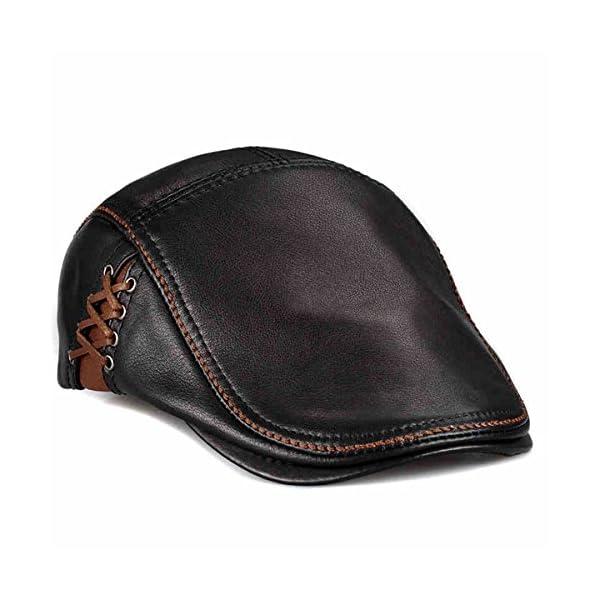 d605b4a217926 lethmik Unique Flat Cap Hunting Cowhide Leather Driver IVY Cap newsboy Hat