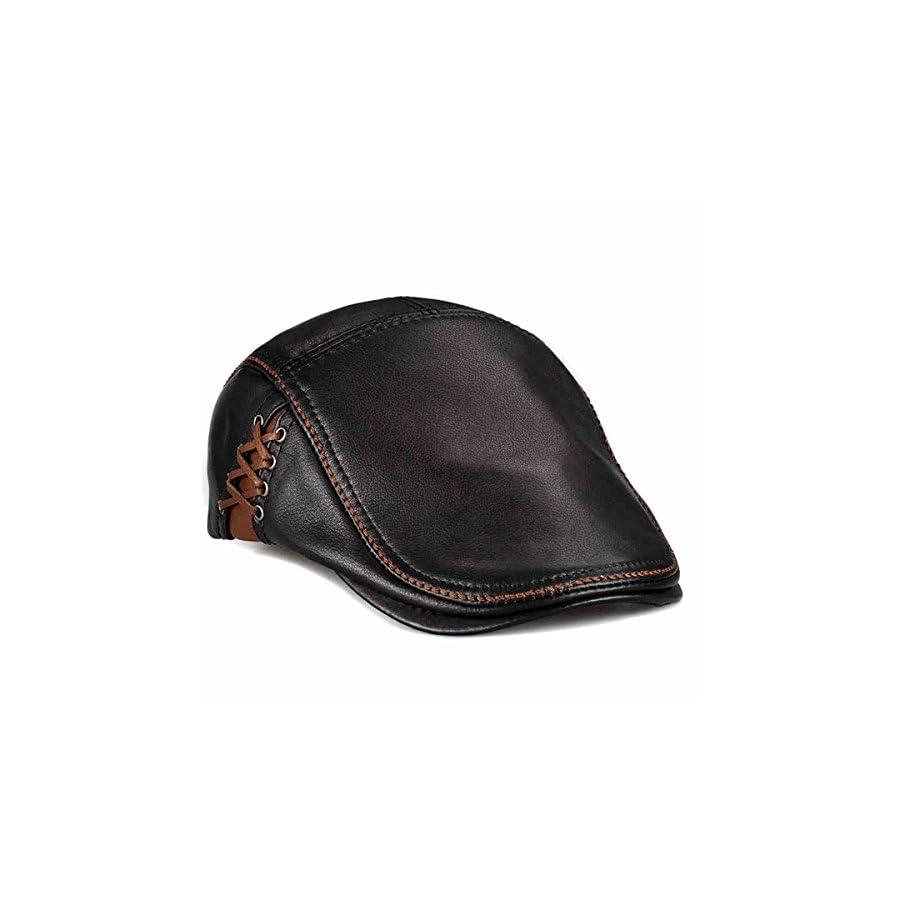 lethmik Unique Flat Cap Hunting Cowhide Leather Driver IVY Cap newsboy Hat