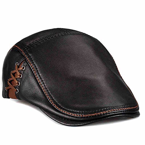 LETHMIK Unique Flat Cap Hunting Cowhide Leather Driver Ivy Cap Newsboy Hat Black-L