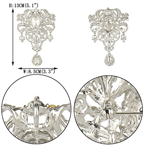 EVER FAITH Austrian Crystal Flower Bouquet Tear Drop Pendant Brooch Clear Silver-Tone Photo #3