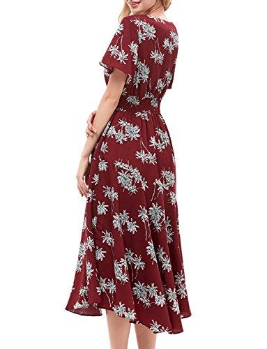 Stampa White Vestito Gardenwed Flower Corte Burgundy Donna Scollo Partito V Estivo Con Abiti Da Spiaggia Bohemian Maniche Maxi Elegante Floreale r6qUrw