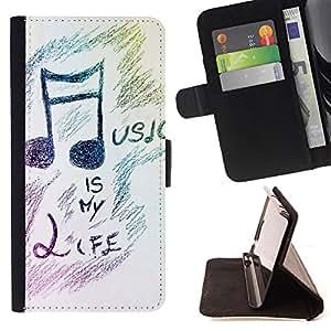 Dragon Case- Mappen-Kasten-Prima caja de la PU billetera de cuero con ranuras para tarjetas, efectivo Compartimiento desmontable y correa para la mu?eca FOR LG Optimus G2 D800 D801 D802 D803 VS980 F320- Guitar Music