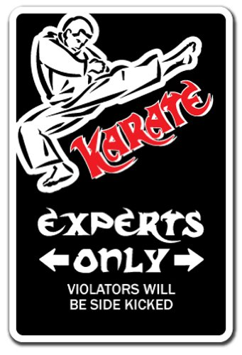 "Karate Aluminum Sign Parking Martial Arts Black Belt Master Instructor School Class | Indoor/Outdoor | 18"" Tall"