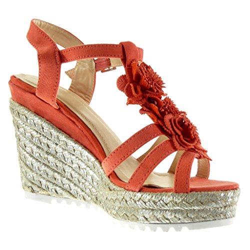 Angkorly - Zapatillas de Moda Sandalias Mules Correa de tobillo zapatillas de plataforma mujer flores cuerda brillantes Talón Plataforma 11.5 CM - Rosa