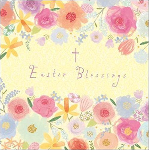 Pack of 5 Pretty Easter Blessings Greeting Cards In Same Design Square