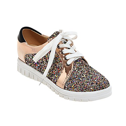 Voet Dames Lovertjes Lace Up Lage Hak Mode Sneakers Goud