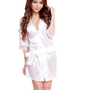 f606e45bc4ca7 BaZhaHei Robe de Nuit Femme Sexy Dentelle Peignoir Soie Pyjama Court  sous-vêtements Lingerie Dame