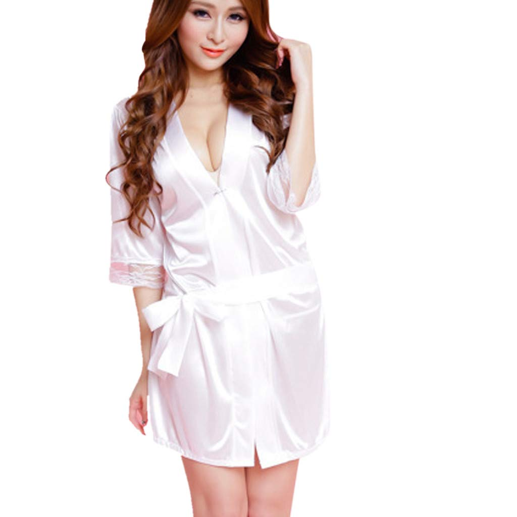 Women Ladies Sleepwear Sexy Lace Silk Underwear Lingerie Sleepwear Nightdress Robe Dress(White,Free Size)