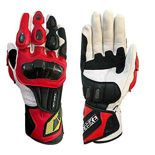Full finger Carbon Fiber Motorcycle Gloves for Men GP-PRO Genuine Leather Motor Racing Gloves(G07-Red, X-Large)