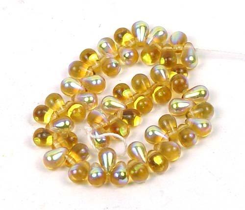 (Czech Glass Beads 8mm Teardrop Amber Topaz AB (50))