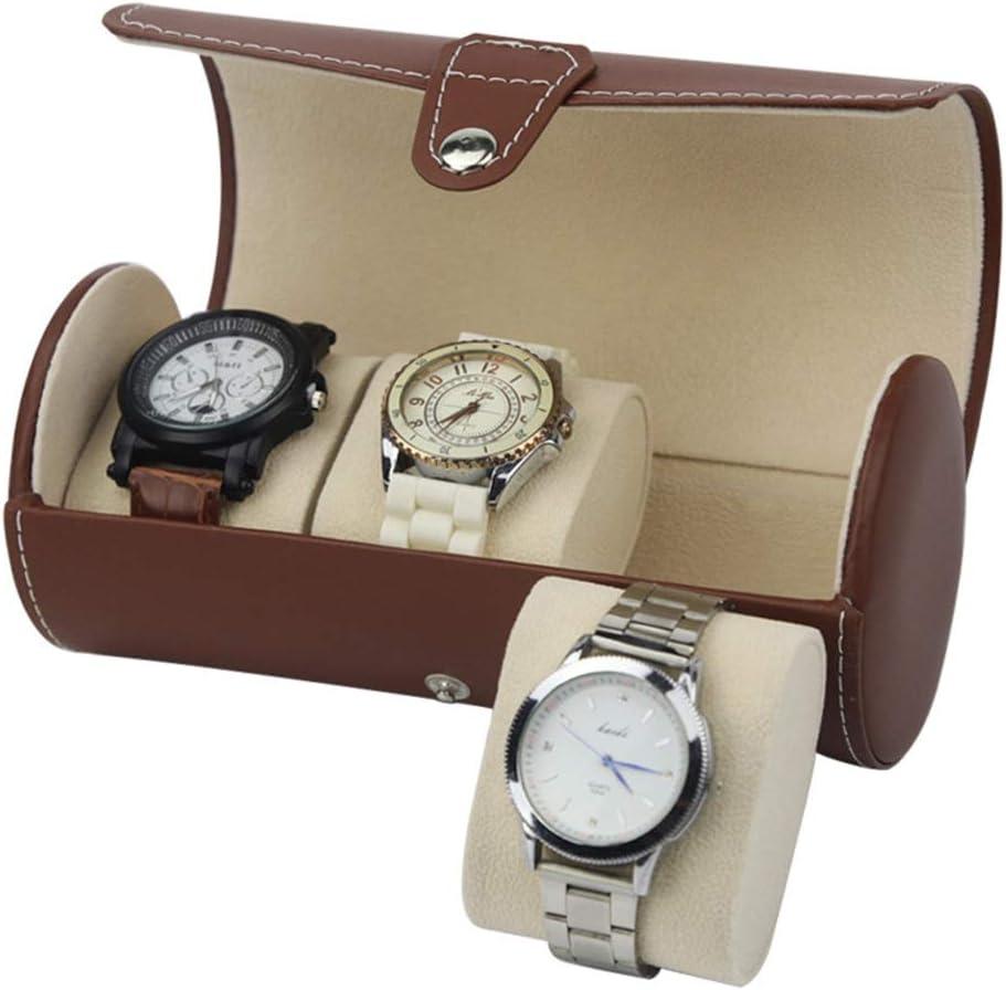 QinWenYan Caja de Reloj El Reloj de Cilindro portátil de Cuero de la PU Muestra 3 Cajas de Maletas con Pintura de Piano for Uso Personal y exhibición en la Tienda Cajas para Relojes