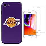 Sportula NBA Phone Case give 2 Tempered Glass Screen Protectors - Extra Value Kit for iPhone 8 / iPhone 7 (Los Angeles Lakers)