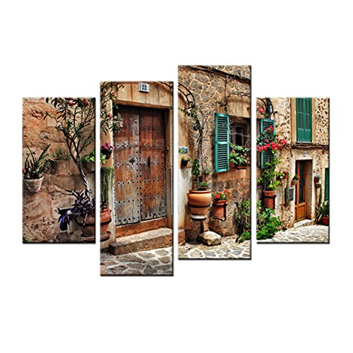 Canvas Painting City Landscape Picture Printed on Canvas Giclee Artwork Stretched and Framed Ready to Hang Wall Art For Living Room Home Decor (Mediterranean Towns) by Amosiwallart