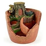 fine fairy garden design Clever Home Garden Tree Stump Fairy Pot in Resin with Fine Detailing (7 in x 7.5 in x 7.5 in)