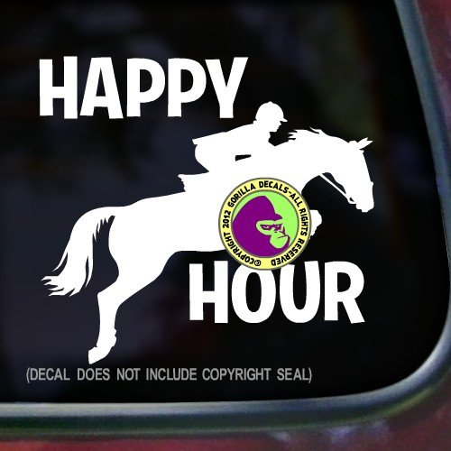 HAPPY HOUR Jumping Hunter Jumper Equestrian Horse Decal Vinyl Bumper Sticker Laptop Window Car Trailer Wall Sign WHITE ()