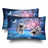 InterestPrint Astronaut Spaceman Outer Space Moon Planet Solar Universe Pillow Cases Pillowcase Queen Size 20x30 Set of 2, Rectangle Pillow Covers Protector for Home Couch Sofa Bedroom Decoration