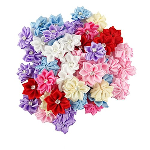 (yueton Pack of 50 DIY Satin Ribbon Flowers with Rhinestone Craft Wedding Ornament Appliques (Assorted color-50pcs))