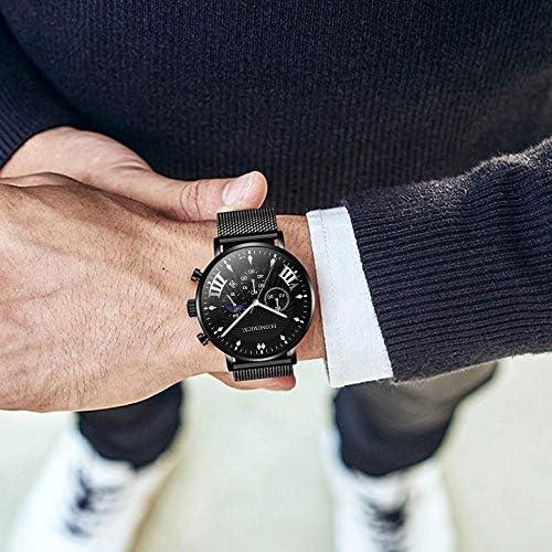 DJxqJ Montres Hommes S Fashion Business Watch Simple Ceinture en Acier Inoxydable Mesh Wild Casual Male Quartz Watch