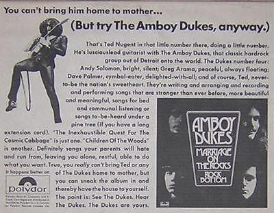 - Amboy Dukes Ted Nugent Detroit Original Vintage 1970 LP Promo Poster Newspaper Ad
