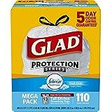 Glad OdorShield Protection Series Tall Kitchen Drawstring Trash Bags - Febreze Fresh Clean - 13 Gallon - 110 count