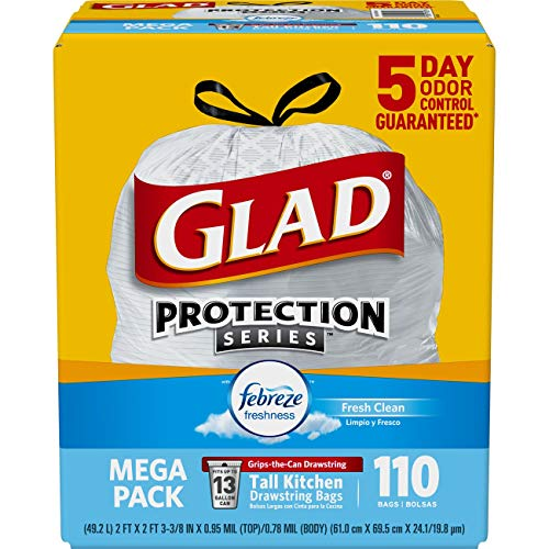 - Glad Tall Kitchen Drawstring Trash Bags - OdorShield 13 Gallon White Trash Bag, Febreze Fresh Clean - 110 Count