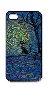 NBcase Halloween Cat Painting hard PC case for iphone 4