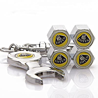 Lotus Tire Valve Caps with Bonus Wrench Keychain: Automotive