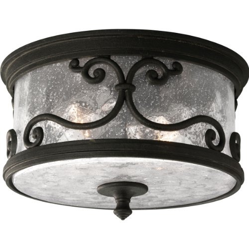 Progress Lighting P5735-80 2-Light Flushmount with Distressed Pepper Glass, Forged Black