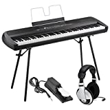 Korg SP280BK 88-Key Digital Piano with Speaker with Keyboard Piano Style Sustain Pedal and Stereo Headphones