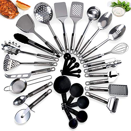 Bella Quin Kitchen Utensil Set 21 - Piece Durable, Long-Lasting, Stainless Steel Cookware Set Non-Stick & Dishwasher Safe Premium Quality Ladle, Whisk, Peeler, Tongs, Grater, Measuring Spoons