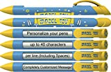 Mitzvah Pen by Greeting Pen- Personalized Mazel Tov Blue Barrel Rotating Message Pen -50 pack- P-MP-303-50