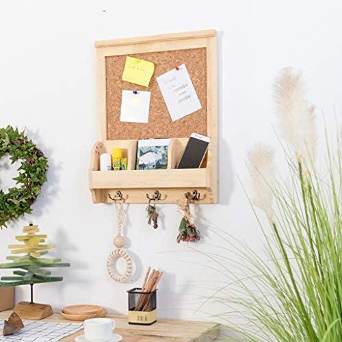 ウォールフレームオープンポーチ木製壁掛けキー収納ボックス3双方向メタルフック付きメッセージボードウッドカラー40×11×52 cm SYFO