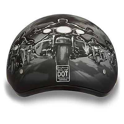 Daytona Helmets Motorcycle Half Helmet Skull Cap- Guns 100% DOT Approved: Automotive