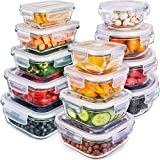 Glass Storage Containers with Lids (13-Pack) - Glass Food Storage Containers Airtight - Glass Containers with Lids - Glass Meal Prep Containers Glass Food Containers by Prep Naturals