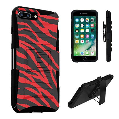 iPhone 7 Plus Case, DuroCase Hybrid Dual Layer Combat Armor Style Kickstand Case w/ Holster for Apple iPhone 7 PLUS (Released in 2016) - (Zebra Black Red) ()