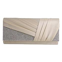 Women Elegant Pleated Satin Rhinestone Fashion Clutch Evening Bag Handbag Purse(white)