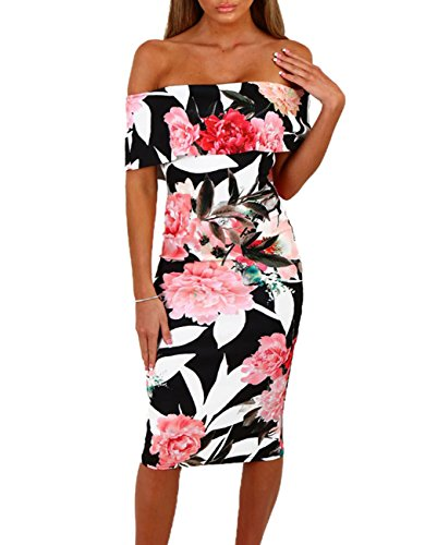 Sexy Dress For Teens (Off The Shoulder Floral Print Boho Sexy Strapless Bodycon Bohemian Summer Midi Length Club Party Wear Dress For Womens All Black Medium)