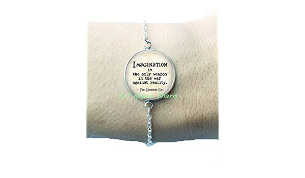 Charming Bracelet,Wonderland Quote Imagination is the only weapon in the war against reality White Rabbit Charm,AS074 Cat Quote