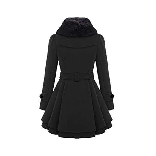 d70b51fc835 Clearance! Napoo Women Plus Size Winter Button Hooded Fleece Warm Belted  Thick Parka Overcoat ... at Amazon Women s Clothing store
