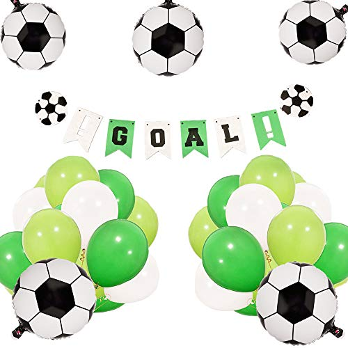 JeVenis Set of 21 Soccer Birthday Party Decoration Set Soccer Ball Balloons Soccer Ball Banner Soccer Party Decorations Soccer Banner for Boy's Birthday Baby Shower Decoration -