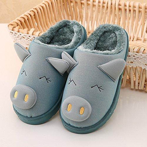 Icegrey Mädchen Jungen Warme Hausschuhe Karikatur Schwein Innen Warm Fleece Haus Hausschuhe Fuzzy Plüsch Schlafzimmer Schuhe Grau Blau 21