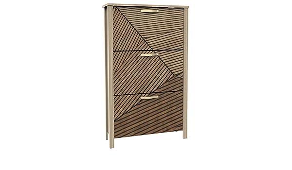 Miroytengo Zapatero 3 Puertas diseño Moderno Tirador Dorado Mueble Entrada 81x28x135 cm: Amazon.es: Hogar