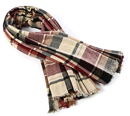 Trendy Women's Cozy Warm Winter Fall Blanket Scarf Stylish Soft Chunky Checked Giant Scarves Shawl Cape (One Size, Pink Scarf) by American Trends (Image #4)