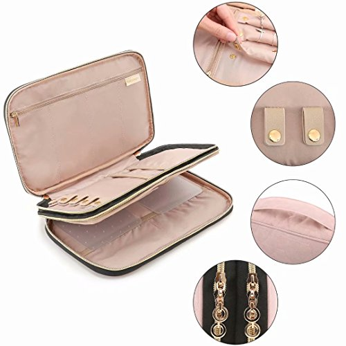 BAGSMART Double Layer Travel Jewelry Organizer Jewelry Storage Carrying Cases for Earrings, Necklaces, Rings, Pink by BAGSMART (Image #4)