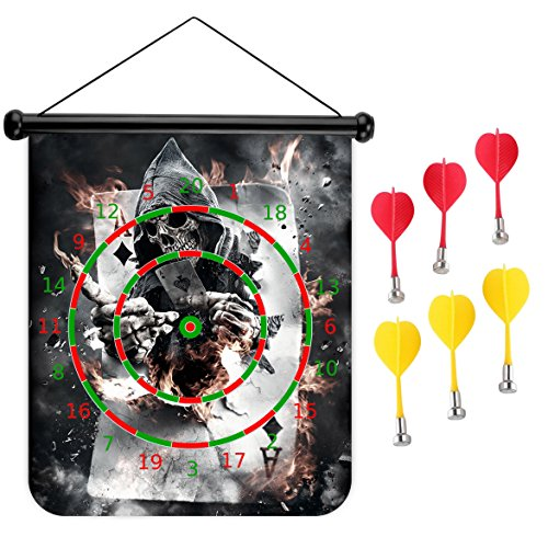 15 inches Magnetic Dart Board Double Sided Hanging Dart Board Set and Bullseye Game! Skull Poker by XIAOYI