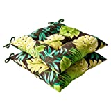 Pillow Perfect Indoor/Outdoor Green/Brown Tropical Tufted Seat Cushion, 2-Pack For Sale